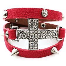 Pink Leather Cross Wrap Around Bracelet Clear Crystal Rhinestone Studs Spike
