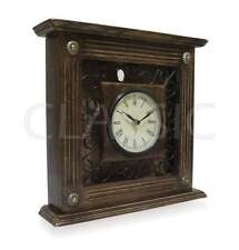 "Wooden & Wrought Iron ✿ Clock for Wall / Table 11x11x2.5"" ✿ Antique Home Decor"