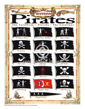 "19.5 x 25"" Pirate Flags Vintage Look Poster Printed on French Parchment Paper"