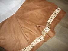 """CROSCILL ARIZONA SOUTHWESTERN FAUX SUEDE CAMEL EMBROIDERED QUEEN BEDSKIRT 17"""""""