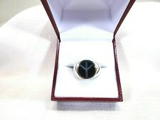 Men's Created Black Onyx Solid Sterling Silver Peace Sign Ring