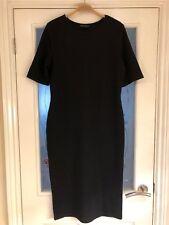 Ladies Clothes Size 14 Dorothy Perkins Black Midi Dress Stretchy (238)