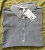 H&M Women's White Dark Blue Striped Sleeveless Shirt Size 8 New With Tags