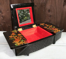 Vintage Japan Japanese Black Lacquered Hand Painted Gold Figures Jewellery Box