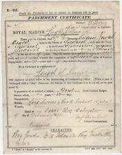 Walmer, Kent: RMLI Naval Parchment Discharge Certificate Sgt. J. Weaver 1898