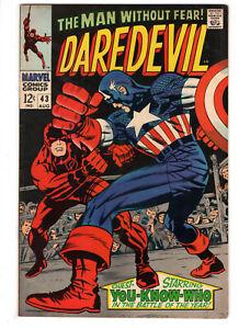 DAREDEVIL #43 (1968) - GRADE 6.0 - BRAWL WITH CAPTAIN AMERICA - ORIGIN RETOLD!