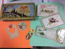 Vintage 1927 BUNTE Debutante Chocolates Candy Advertising Box & post cards