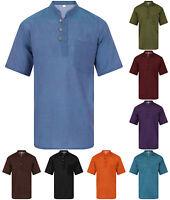 Grandad Shirt Short Sleeved Plain 100% Cotton Kurta Hippy Hippie Jacket Nepal