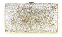 Women Evening Bag Wedding Bridal Prom Party Clutch Handbag Crystal Gold Flowers
