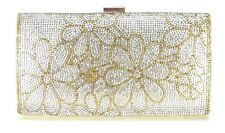 Women Evening Bag Wedding Bridal Prom Party Clutch Handbag Crystal Gold Flowers