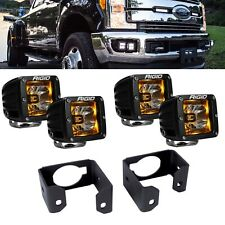 Rigid Radiance + LED Fog Light Kit Amber Backlight for 2017 2018 Ford F250 F350