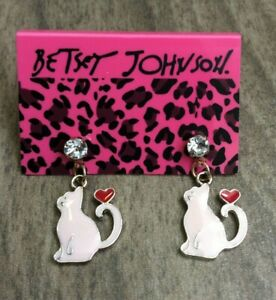 Betsy Johnson Pink Cat with Red Heart Crystal Pierced Stud Earrings New Item!