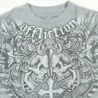 Affliction T-Shirt MEDIUM Distressed Soft Thin Skulls Cross Faded Gray