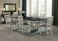 """NEW Modern Rustic Gray Chalk 66""""-94"""" Dining Table Extension Leaf & 4 or 6 Chairs"""