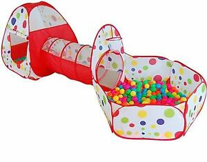 3 in 1 Kids Tunnel Pool Play Tent House Multicolor Dotted Print Balls Inculed