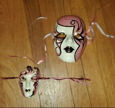 Lot of 2 Ceramic Art Mask Mardi Gras Woman's Face New Orleans LA Asian
