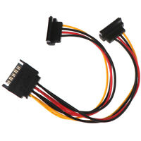 90 degree SATA 15-Pin Male to 2 x 15P Female Y Splitter Adapter Power Cable Dz
