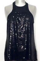 ROBERTO CAVALLI Top Shirt Pailletten Sequin schwarz black NEU Etikett NP 240€!