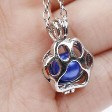 Exquisite Paw Print Dog Cat Silver Pearl Cage Pendant Necklace Gift High Class