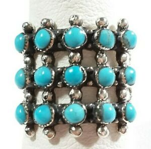 925 STERLING SILVER BEADED SOUTHWEST STYLE 15 STONES TURQUOISE SIZE 7 RING