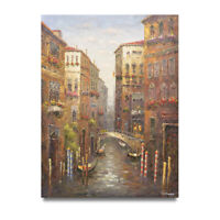 NY Art - Large! Venice Canal & Gondolas 36x48 Oil Painting on Canvas - On Sale!!