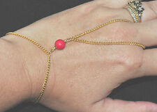 Chain Hand Bracelet Ring Stone Howlite Red Color Gold Jewel