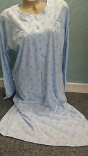 Blue Long sleeve nightdress size XXL 24-26 100% Jersey Cotton B.N.W.T.