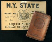 Great 1930's NY Alcoholic Beverage Control Vehicle 'Tag' and Leather Credential