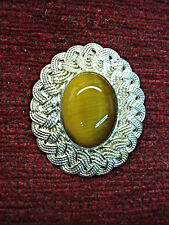 MAGNIFICENT VINTAGE STERLING SILVER / TIGER EYE PIN / PENDANT