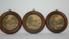 Mid Century Countryside Prints in Round Wooden Frame Set of 3 Vintage