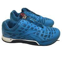 Women's Reebok Crossfit Duracage Training Shoes CF74 Deadlifts Blue Flat Soles