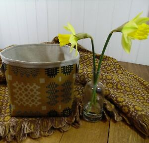 Welsh Blanket Weave Print Acrylic Oilcloth fabric Mustard large storage basket