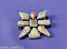 Navajo Indian Turquoise Pin by J. Piaso Jr.