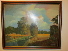Large Original Oil Painting On Board The River Roding Signed By P. Thompson-1995