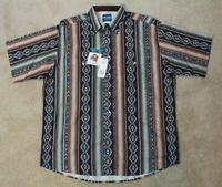 Wrangler Western Shirt Checotah Aztec Pattern - Short Sleeved Mens XL NWT