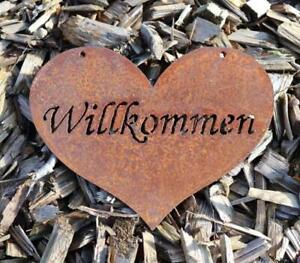 """Edelrost Schild / Spruchtafel / Herzhänger """"Willkommen"""" Rost Breite 20,5 cm Höh"""