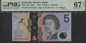 TT PK 62a 2016 AUSTRALIA RESERVE BANK 5 DOLLARS QUEEN ELIZABETH II PMG 67 EPQ!