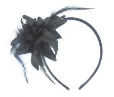 Noir éclat Fleurs et Plume Cheveux Bandeau Parti, bal