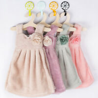 AD_ Cute Dress Super Absorbent Coral Velvet Bathroom Kitchen Hanger Hand Towel B