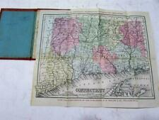 Connecticut scarce folding pocket map 1875 Butler Mitchell hand color antique