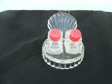 Vintage Turkey Tray Clear Glass with Salt & Pepper Shakers-Red Caps