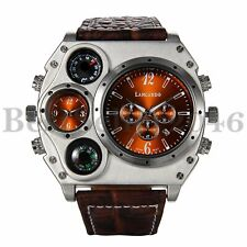 Luxury Mens Military Date Large Dial Leather Quartz Sports Dual Time Wrist Watch