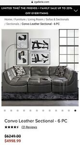 Z Gallerie Convo Grey Leather Sectional 6 Pieces Sofa