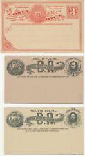 COSTA RICA GANZSACHEN 1883/90 3 versch. ungebr. Kab.-GA's m. selt. Antwortkarte