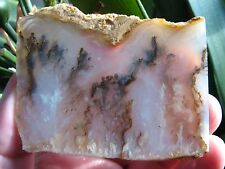 Graveyard Point Plume Agate: Unpolished Slab; Black and White Plumes; Marcasite
