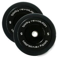 """Olympic Bumper Plates Rubber Weight 2"""" Disc - Crossfit Powerlifting Strength Gym 2 X 5kg"""