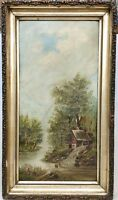 Antique Oil on Board Painting Framed 19th Century