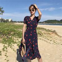 Cherry Printed Wrapped Dress Korean Women Fashion_Short Slim Sleeve Maxi_Dresses