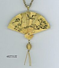 """Reversible Fan Necklace Goldtone 24"""" Chain Very Fine Engraving Articulating"""