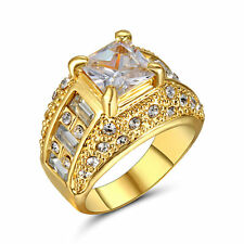 Hot AAA White Zircon Ring Wedding Band 10KT Yellow Gold Filled Jewelry Size 9